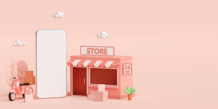 E-commerce concept, Convenience store shopping online and delivery service on mobile application, 3d illustration