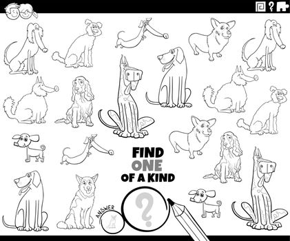 one of a kind task with pedigree dogs coloring book page