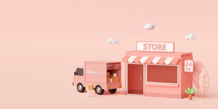 E-commerce concept, Convenience store and delivery service by truck, 3d illustration