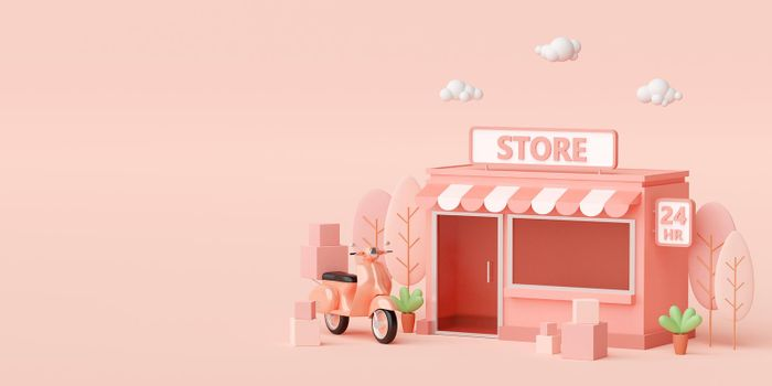 E-commerce concept, Convenience store and delivery service by scooter, 3d illustration