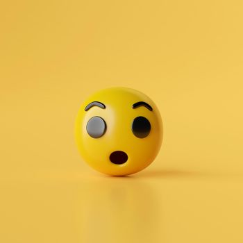 Wow emoji icons on yellow background, 3d illustration