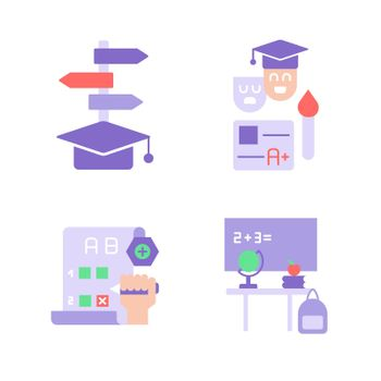 Skill improvement with education vector flat color icon set