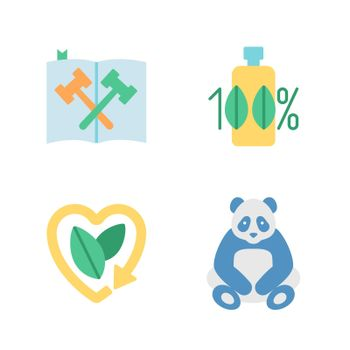 Nature and ecology preservation vector flat color icon set