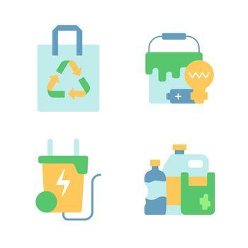 Garbage disposal vector flat color icon set