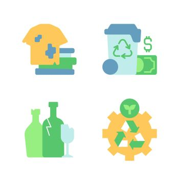 Recycling and garbage disposal vector flat color icon set