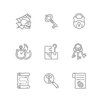 Quest linear icons set