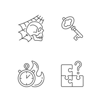 Quest room linear icons set