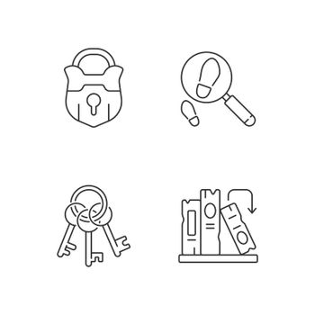 Solving mystery linear icons set