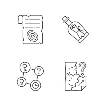 Mystery quest linear icons set