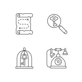 Solving quest linear icons set
