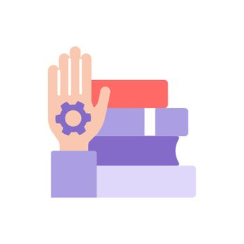 Skill development through learning vector flat color icon