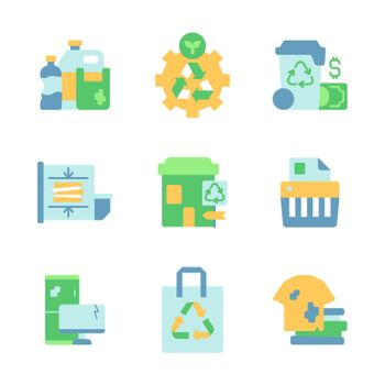 Trash and waste disposal vector flat color icon set
