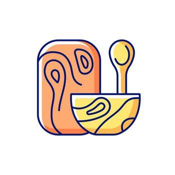 Wooden tableware RGB color icon