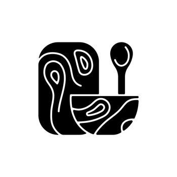 Wooden tableware black glyph icon