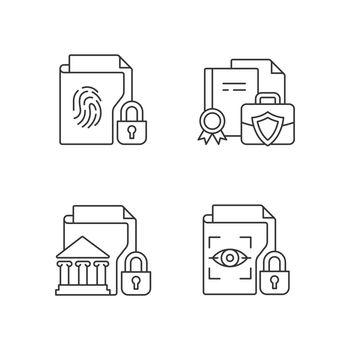 Personal sensitive data linear icons set
