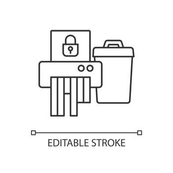 Sensitive information disposal linear icon