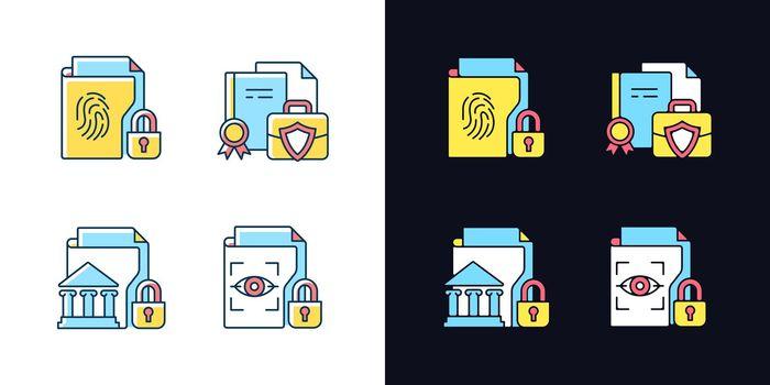 Personal sensitive data light and dark theme RGB color icons set