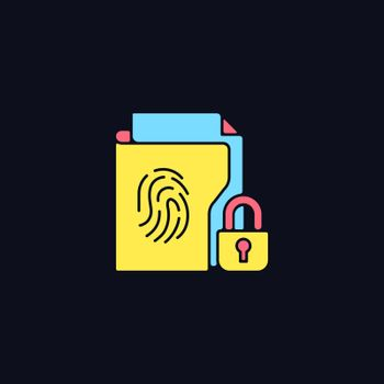 Sensitive information protection RGB color icon for dark theme