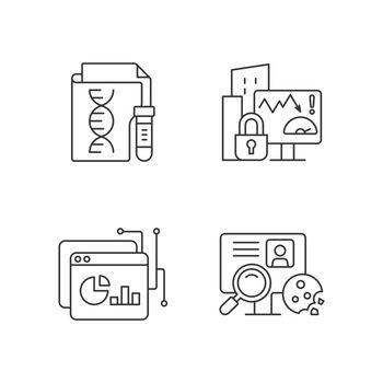 Sensitive data types linear icons set
