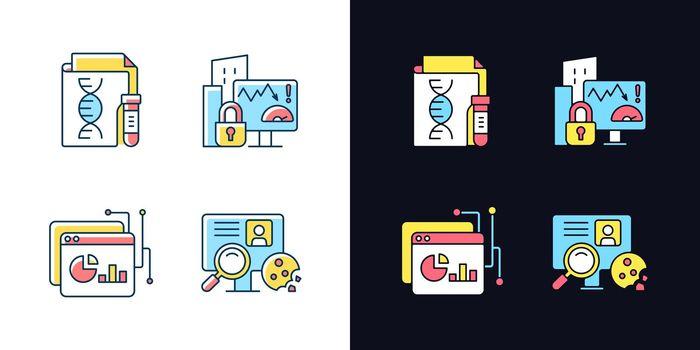 Sensitive data types light and dark theme RGB color icons set
