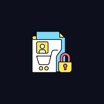 Consumer data privacy RGB color icon for dark theme