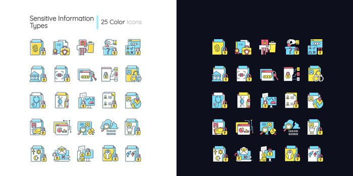 Sensitive information types light and dark theme RGB color icons set