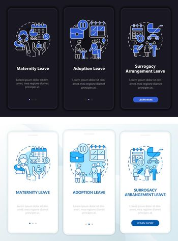 Maternity leave types dark, light onboarding mobileapp page screen