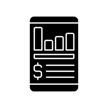 Expense tracker app black glyph icon
