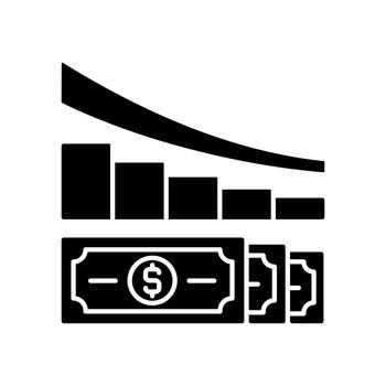 Expense reduction black glyph icon