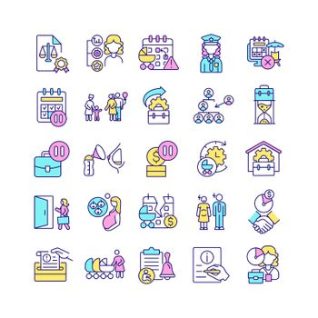 Maternity leave related RGB color icons set