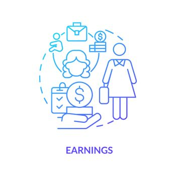Earnings blue gradient icon