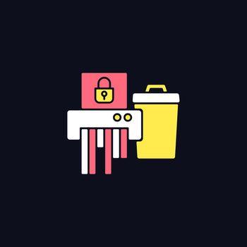 Sensitive information disposal RGB color icon for dark theme