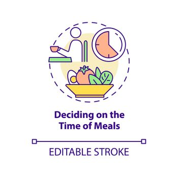 Deciding on time of meals concept icon