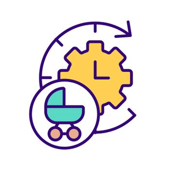 Clock face and baby carriage RGB color icon