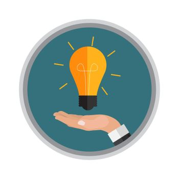 Hand holds light bulb. Investing in innovation concept. Modern flat design graphics. Vector illustration