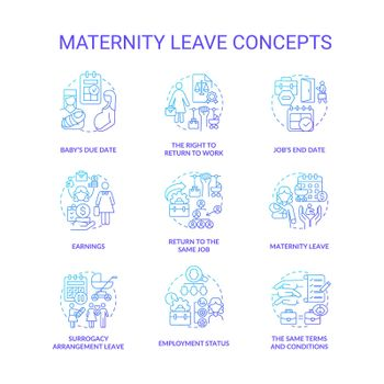 Maternity leave related blue gradient icons set