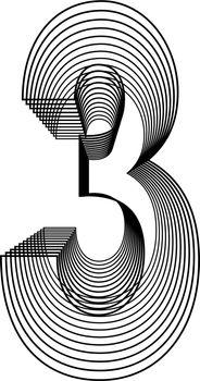 Number 3  Line Logo Icon Design