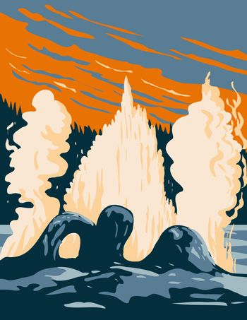 Grotto Geyser a Fountain Type Geyser Located in the Upper Geyser Basin in Yellowstone National Park Teton County Wyoming USA WPA Poster Art