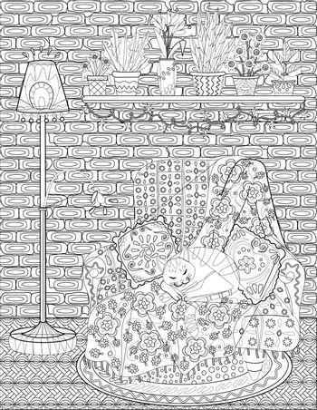 Cat Sleeping On A Couch With Pillow Beside A Lamp Colorless Line Drawing. Domesticated Feline Sleeps On Chair With Plant Pots Above Coloring Book Page.