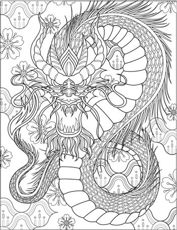 Angry Dragon Facing Front With Long Body And Horns Colorless Line Drawing. Mythical Drake Beast Forward Looking Colorless Line Drawing