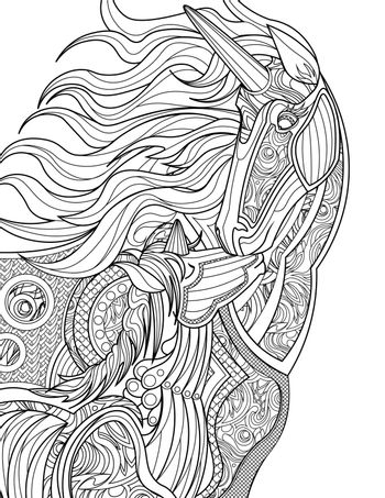 Mother Unicorn Giving Her Baby A Kiss Colorless Line Drawing. Parent Mythical Horned Horse Standing Kissing Offspring Coloring Book Page.