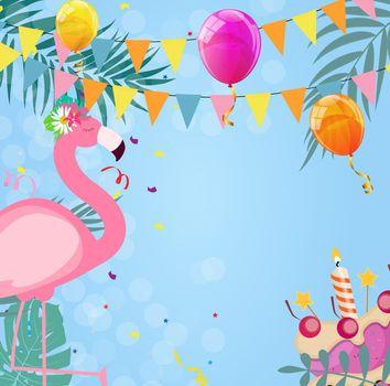 Birthday Card, Congratulation Template Vector Illustration