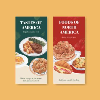 Flyer template with American foods concept,watercolor style