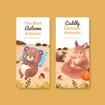 Flyer template with autumn animal concept,watercolor style