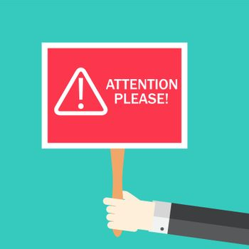 Attention please concept of important announcement. Vector illustration
