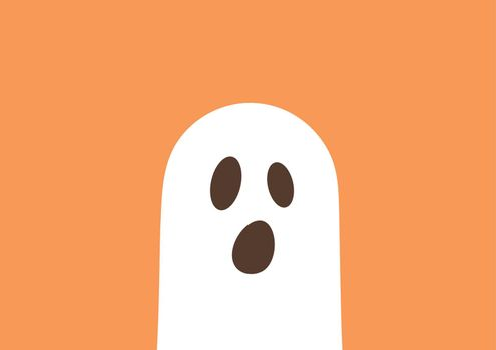 Ghost on orange background