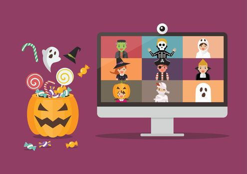 Halloween party video conference on computer display