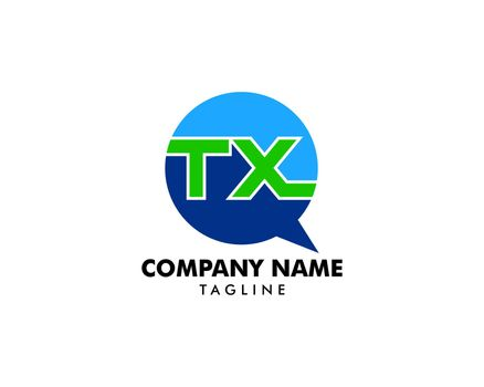 Initial Letter TX Bubble Talk Logo Template Vector