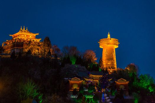 Prayer Wheel in Shangri-La at night