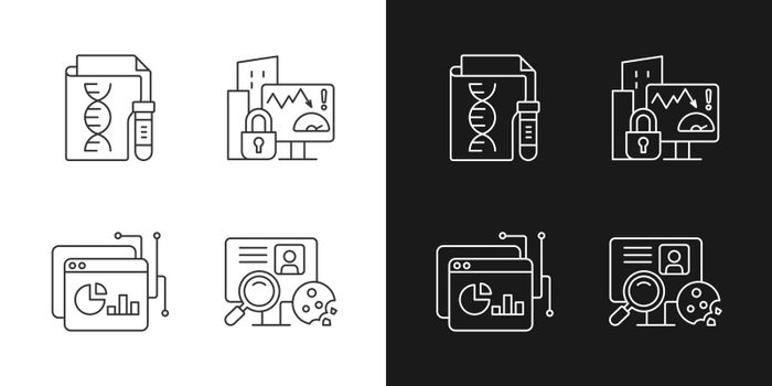 Sensitive data types linear icons set for dark and light mode